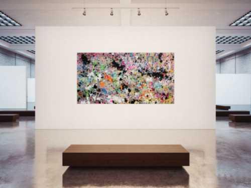 Abstraktes Acrylbild Actionpainting sehr bunt moderne helle Farben