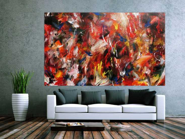 abstraktes acrylbild sehr bunt in mischtechnik expressionistisch modern handgemalt auf leinwand. Black Bedroom Furniture Sets. Home Design Ideas