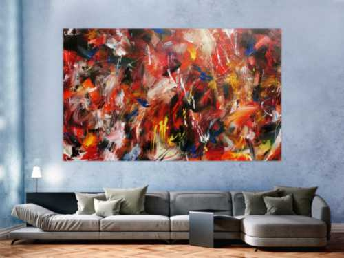 Abstraktes Acrylbild sehr bunt in Mischtechnik expressionistisch modern