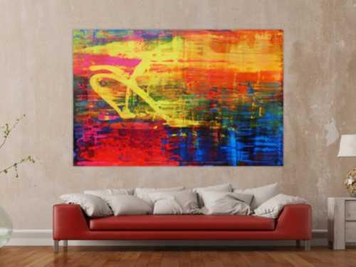 Abstraktes Acrylbild sehr bunt modern in Mischtechnik sehr intensive Farben