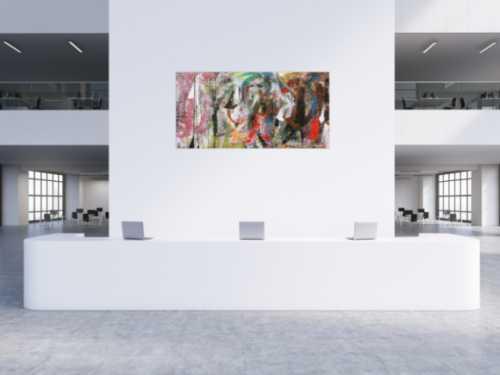 Sehr abstraktes modernes Acrylbild in Mischtechnik