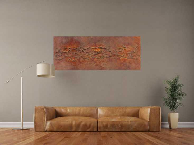 #1004 Abstraktes Bild aus echtem Rost und starker Strukur 60x150cm von Alex Zerr