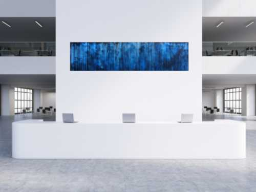 Abstraktes Acrylbild in dunkelblau und schwarz sehr modern