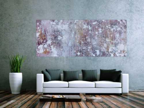 Abstraktes Acrylbild in hellen Pastellfarben Actionpainting und Fließtechnik