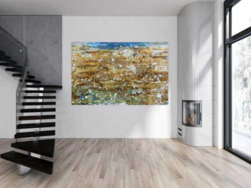 Abstraktes Gemälde modernes Bild in mediteranen Farben beige braun und blau