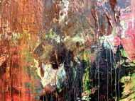 Detailaufnahme Abstraktes Gemälde in Mischtechnik Acryl und Rost sehr modern und einzigartig mit Struktur
