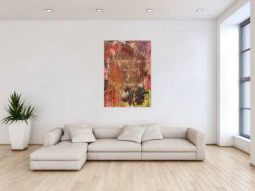 Abstraktes Gemälde in Mischtechnik Acryl und Rost sehr modern und einzigartig mit Struktur