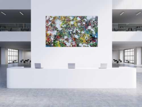 Buntes Abstraktes Acrylbild Action Painting viele Flecken auf Leinwand sehr modern