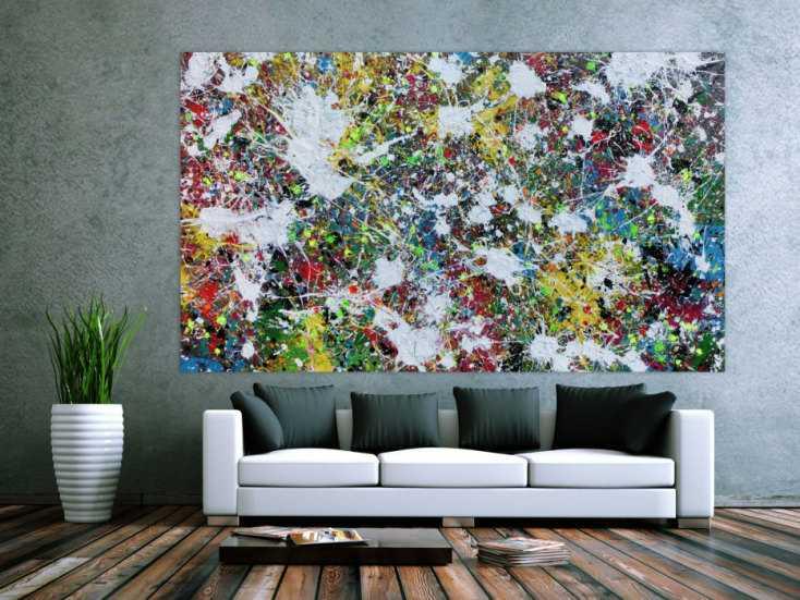 buntes abstraktes acrylbild action painting viele flecken auf leinwand sehr modern auf leinwand. Black Bedroom Furniture Sets. Home Design Ideas