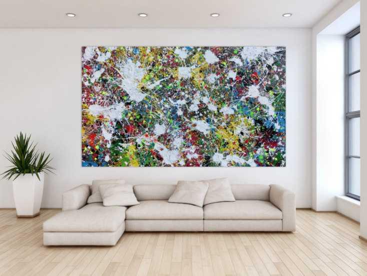 #1009 Buntes Abstraktes Acrylbild Action Painting viele Flecken auf ... 140x240cm von Alex Zerr