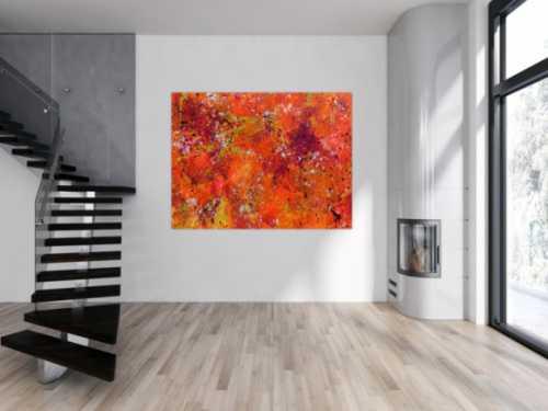 Abstraktes Acrylbild Action painting in Neonfarben orange pink gelb weiß