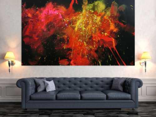 Abstraktes Acrylbild Actionpainting modern in schwarz rot gelb weiß pink