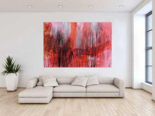 Modernes abstraktes Acrylgemälde in range schwarz weiß Mischtechnik
