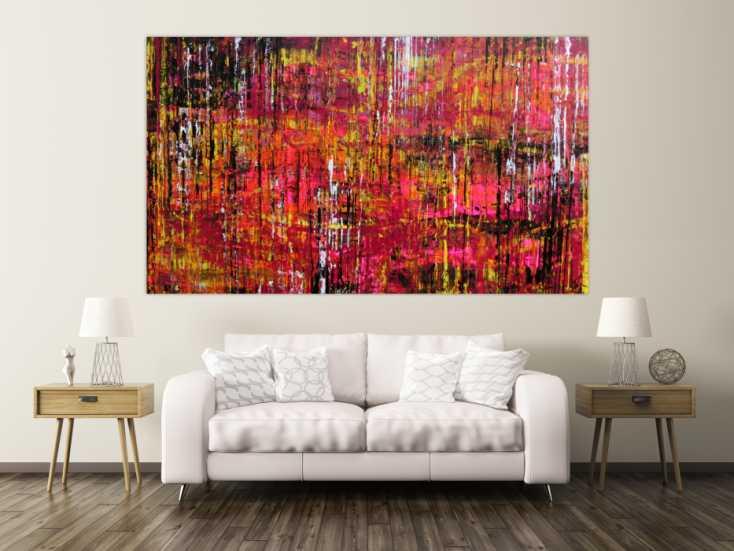 abstraktes acrylbild spachteltechnik sehr gro modern in schwarz pink gelb wei auf leinwand. Black Bedroom Furniture Sets. Home Design Ideas