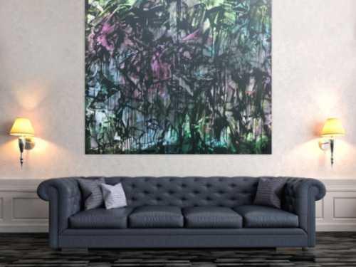 Abstraktes Acrylbild in Spachteltechnik sehr modern bunt und dunkel