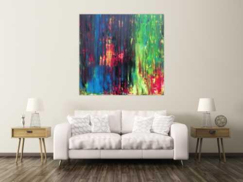 Abstraktes Gemälde sehr bunt in Spachteltechnik quadratisch modern mit vielen Faben