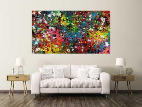 Abstraktes Acrylbild Actionpainting sehr bunt modern mit vielen Farben und Neonfarben