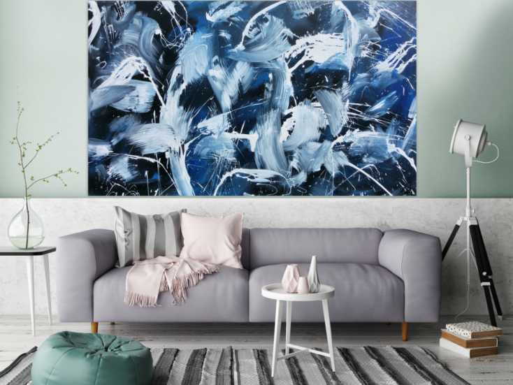 modernes abstraktes acrylbild actionpainting dunkelblau und wei sehr gro auf leinwand 120x200cm. Black Bedroom Furniture Sets. Home Design Ideas