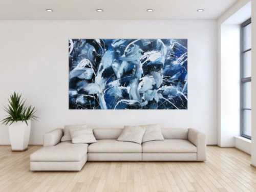 Modernes Abstraktes Acrylbild Actionpainting dunkelblau und weiß sehr groß