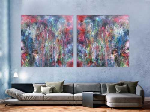 Abstraktes Acrylbild Diptychon bunt sehr modern in Fließtechnmit mit hellen Pastellfarben