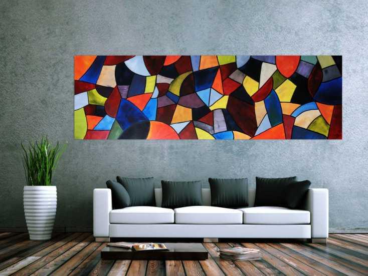 abstraktes acrylbild xxl modern und bunt handgemalt auf leinwand in 80x255cm von alex zerr. Black Bedroom Furniture Sets. Home Design Ideas