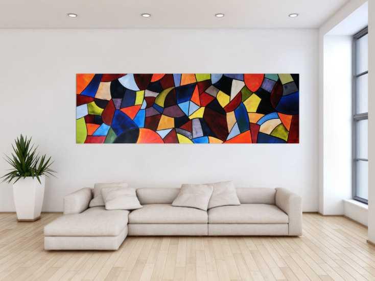 abstraktes acrylbild xxl modern und bunt auf leinwand 80x255cm. Black Bedroom Furniture Sets. Home Design Ideas