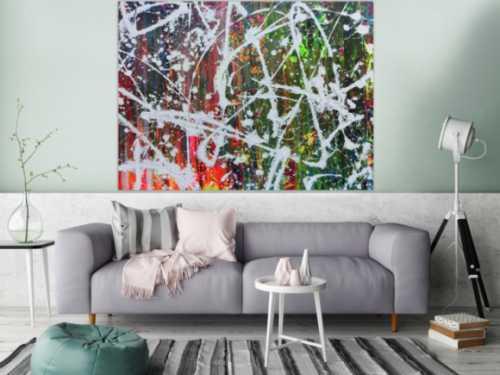 Abstraktes Acrylbild sehr modern Actionpainting sehr bunt mit vielen Farben