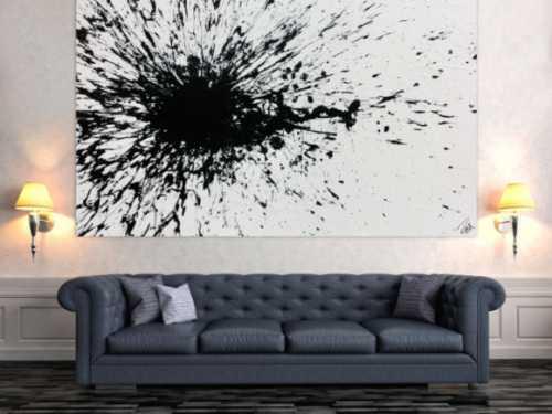 Abstraktes Acrylbild minimalistisch Actionpainting Splash Art schwarz weiß