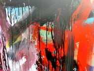 Detailaufnahme Abstraktes Gemälde sehr modernes Acrylbild Mischtechnik in rot schwarz weiß