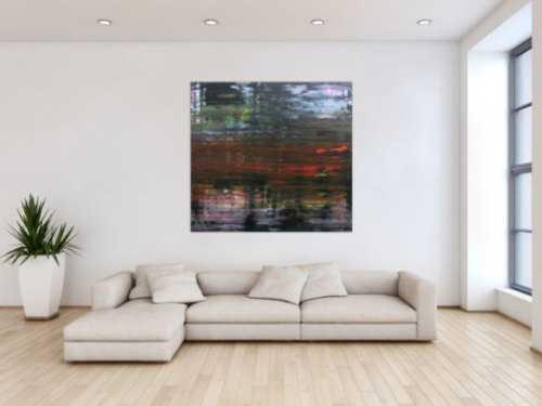 Modernes dunkels abstraktes Acrylbild in Spachteltechnik sehr modern in dunkel und bunt