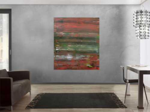 Abstraktes Acrylbild Spachteltechnik sehr modern braune und grüne Farbtöne