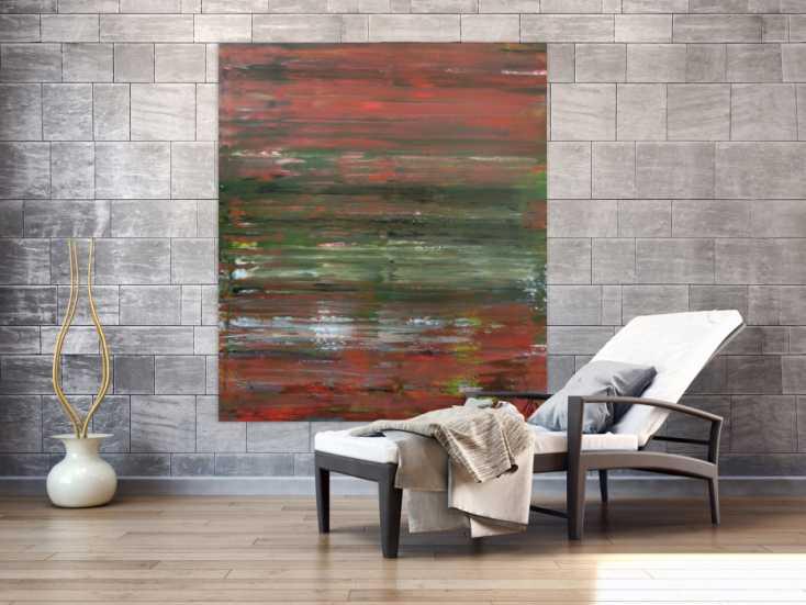 #1024 Abstraktes Acrylbild Spachteltechnik sehr modern braune und grüne ... 150x130cm von Alex Zerr