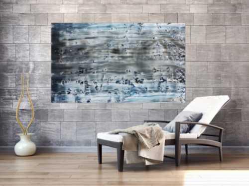 Abstraktes Acrylbild Spachteltechnik rau blaue Farben sehr modern