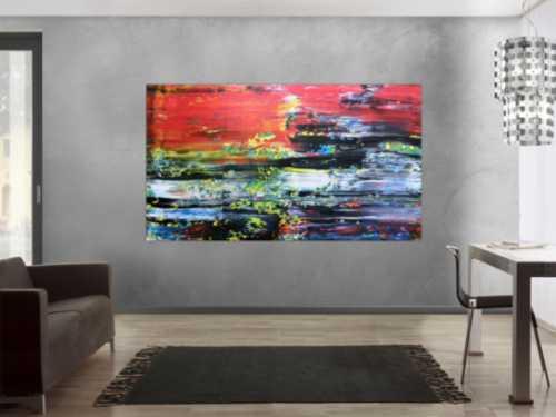 Abstraktes Acrylbild Spachteltechnik sehr bunt viel rot mit schwarz weiß blau gelb