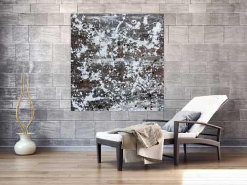 Abstraktes Acrylbild sehr modern braune Farben schlicht Actionpainting