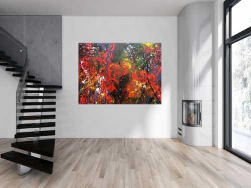 Abstraktes Acrylbild sehr bunt dunktle Farben Action Painting Splash Art