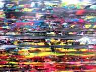 Detailaufnahme Abstraktes Acrylbild sehr modern in Spachteltechnik bunt viele Farben viel rot