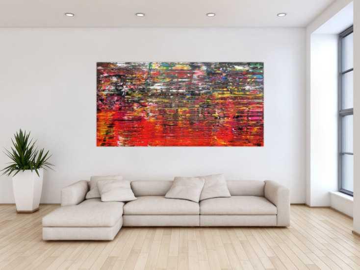 #1029 Abstraktes Acrylbild sehr modern in Spachteltechnik bunt viele Farben ... 100x200cm von Alex Zerr