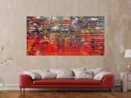 Abstraktes Acrylbild sehr modern in Spachteltechnik bunt viele Farben viel rot