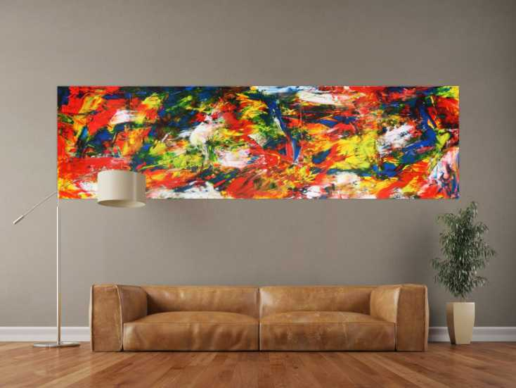 abstraktes acrylbild auf leinwand xxl auf leinwand 70x260cm. Black Bedroom Furniture Sets. Home Design Ideas