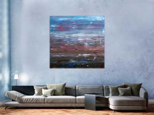Abstraktes Acrylgemälde Spachteltechnik sehr moderne Farben hellblau braun weiß