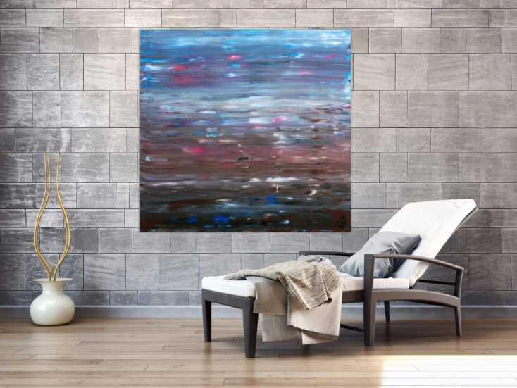 abstraktes acrylgem lde spachteltechnik sehr moderne farben hellblau braun wei auf leinwand. Black Bedroom Furniture Sets. Home Design Ideas
