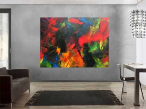 Sehr buntes abstraktes Acrylbild sehr modern und viele Farben
