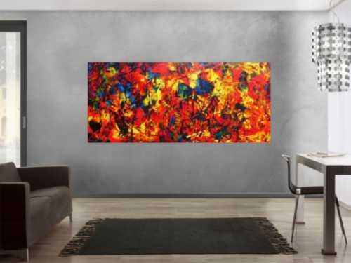 Abstraktes Acrylbild Spachteltechnik sehr modern viele Farben rot blau gelb bunt