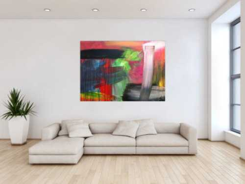 Abstraktes Acrylbild sehr bunt modern in Mischtechnik viele Farben