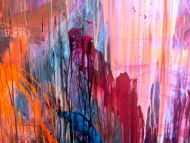 Detailaufnahme Abstraktes Acrylbild Mischtechnik sehr modern groß in lila violett orange