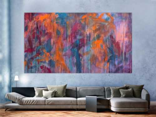 Abstraktes Acrylbild Mischtechnik sehr modern groß in lila violett orange