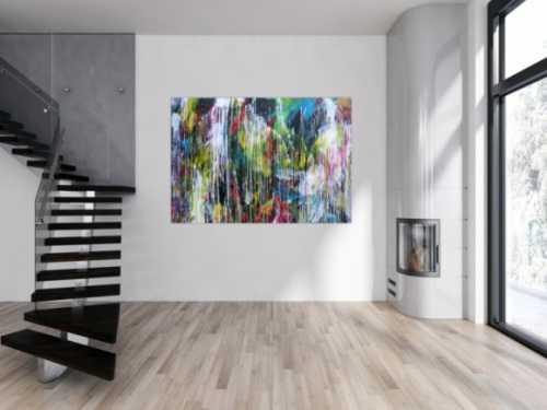 Abstraktes Acrylgemälde sehr bunt Mischtechnik Action Painting sehr modern