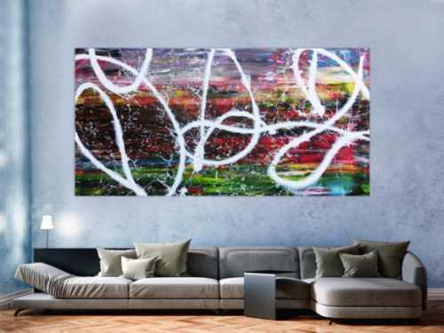 Sehr buntes abstraktes Acrylbild in Spachteltechnik und Actionpainting sehr modern