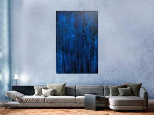 Abstraktes Acrylbild dunkelblau sehr modernes zeitgenössisches Gemälde